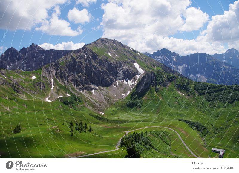 Alpen Panorama Ferien & Urlaub & Reisen Sommer blau grün weiß Erholung ruhig Berge u. Gebirge Gefühle Glück Tourismus Erde Stimmung Ausflug wandern Fröhlichkeit
