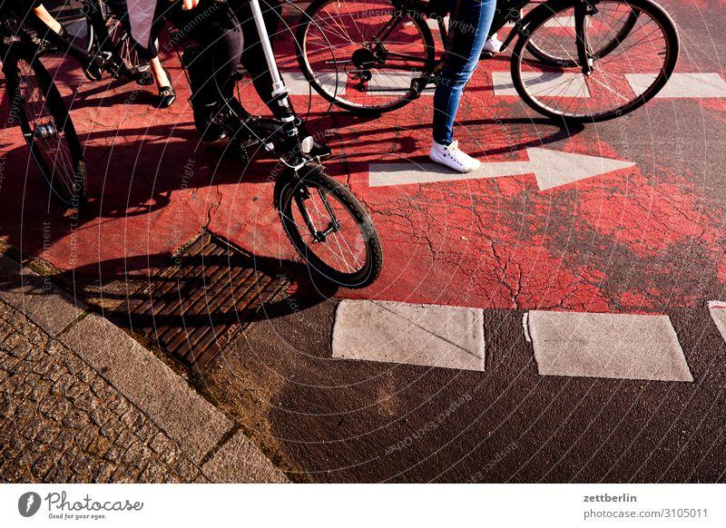 Fahrradweg Fahrradfahren Straßenkreuzung Wegkreuzung abbiegen Verkehr Straßenverkehr Pfeil Orientierung warten stehen Regel Verkehrsregel