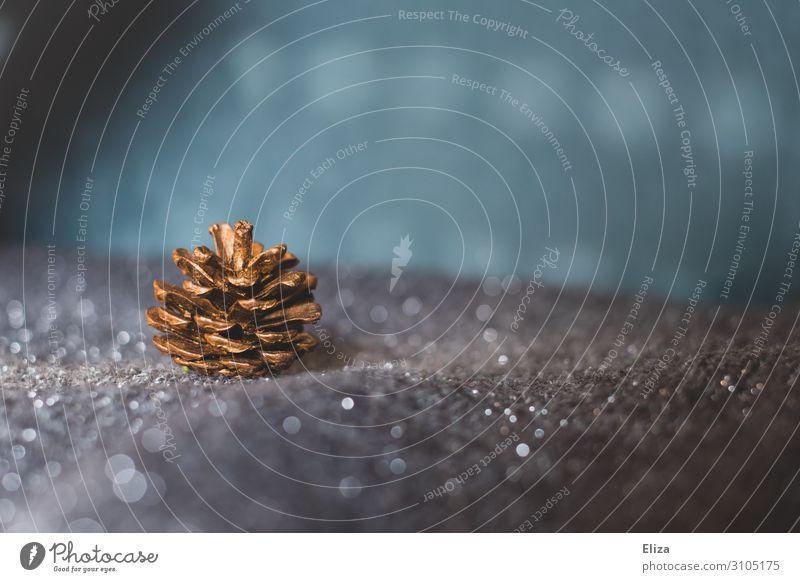 Ein goldglänzender Tannenzapfen auf silbernem glitzernden Hintergrund. Winter Weihnachten & Advent Weihnachtsdekoration Schneelandschaft blau Unschärfe Licht