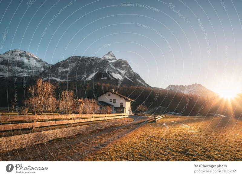 Winteralpine Landschaft im österreichischen Alpendorf Ferien & Urlaub & Reisen Berge u. Gebirge Haus Natur Wald Dorf blau gelb Ehrwald Nachmittag Österreich