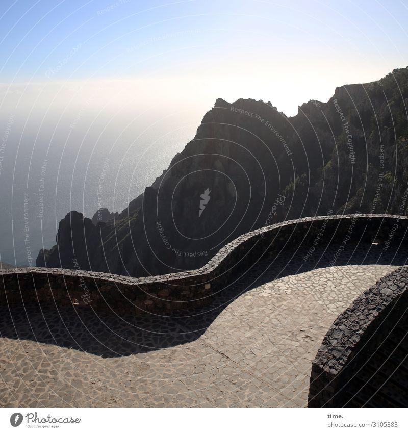 Fernweh Umwelt Natur Landschaft Himmel Wolken Horizont Schönes Wetter Berge u. Gebirge Küste Meer Brücke Bauwerk Architektur Mauer Wand Personenverkehr