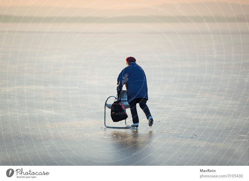 Ältere Frau läuft Schlittschuh Freude Erholung Freizeit & Hobby Sonne Winter Sport Mensch Erwachsene Großmutter alt fahren kalt Aktion Eisbahn
