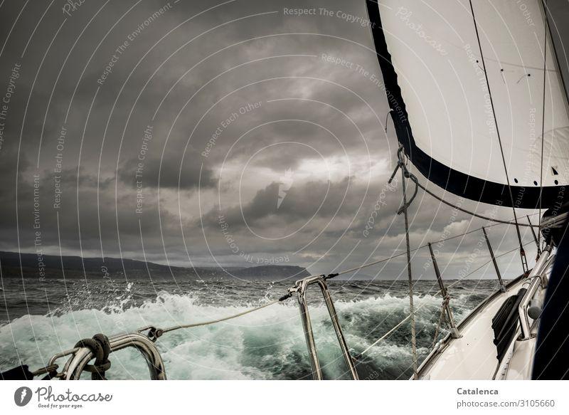 Stürmisch Freizeit & Hobby Ausflug Freiheit Meer Wellen Wassersport Segeln Umwelt Natur Urelemente Wassertropfen Himmel Gewitterwolken schlechtes Wetter Regen