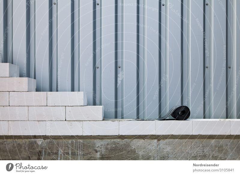 Mauerverband mit Sperrschicht Architektur Wand Stein Fassade Arbeit & Erwerbstätigkeit Metall Wachstum Beton Baustelle Bauwerk Beruf Wirtschaft Backstein
