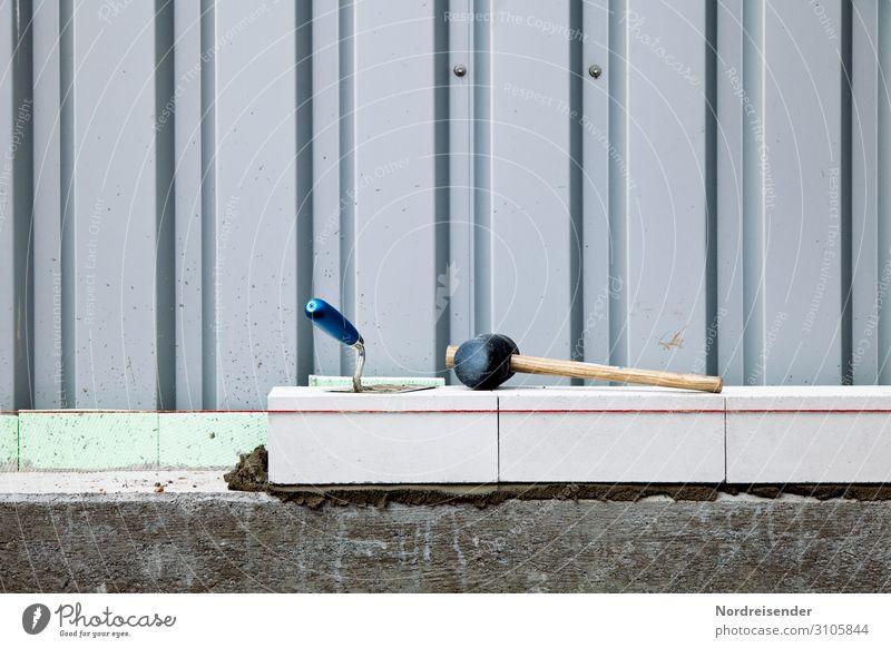 Maurerarbeiten mit Richtschnur und Maurerkelle Architektur Wand Mauer Fassade Arbeit & Erwerbstätigkeit Metall Schnur Beton Baustelle Bauwerk Beruf Wirtschaft