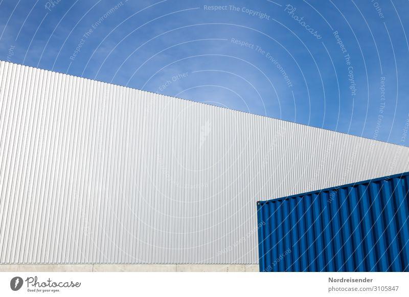 Formen und Strukturen in Blech Himmel blau weiß Architektur Wand Gebäude Mauer Fassade Arbeit & Erwerbstätigkeit Design Metall modern Perspektive Schönes Wetter