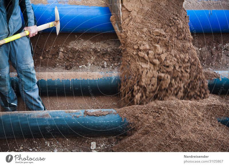 Erneuerung der Infrastruktur Arbeit & Erwerbstätigkeit Beruf Handwerker Arbeitsplatz Baustelle Wirtschaft Werkzeug Schaufel Maschine Baumaschine