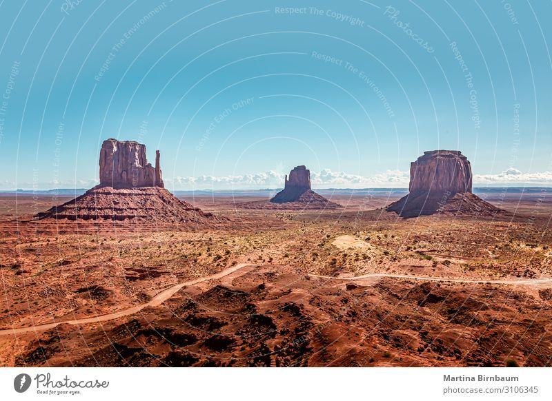 Monument Valley Ferien & Urlaub & Reisen Berge u. Gebirge Natur Landschaft Sand Himmel Horizont Park Felsen Schlucht Denkmal Stein wild blau rot wüst Tal Utah