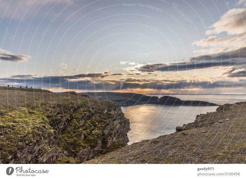 Landschaften am Nordkap Ferien & Urlaub & Reisen Tourismus Ausflug Abenteuer Ferne Freiheit Expedition Sonne Meer Natur Wasser Himmel Wolken Horizont