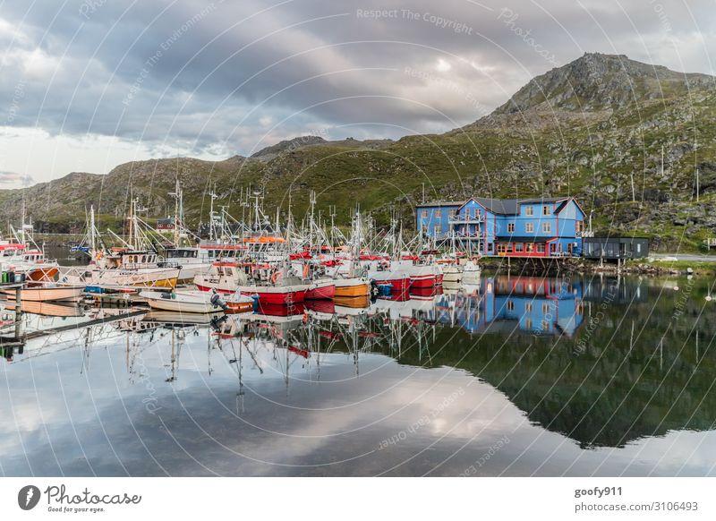 Fischerboote Ferien & Urlaub & Reisen Tourismus Ausflug Abenteuer Ferne Freiheit Expedition Natur Landschaft Wasser Himmel Wolken Hügel Fjord Norwegen