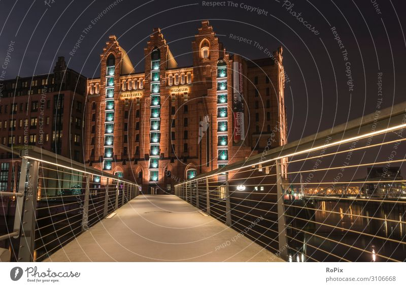 Maritimes Museum Hamburg bei Nacht. Lifestyle Design Freizeit & Hobby Ferien & Urlaub & Reisen Tourismus Sightseeing Städtereise Nachtleben