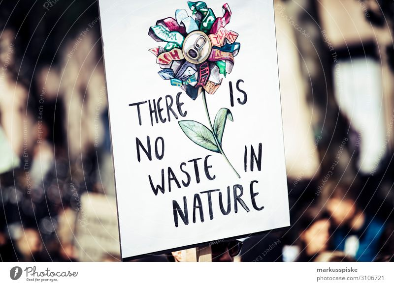 There is not waste in nature Kind Student Desaster Frieden Global Climate Mobilisation Global Climate Strike activist appeal atmosphere Hintergrundbild blue