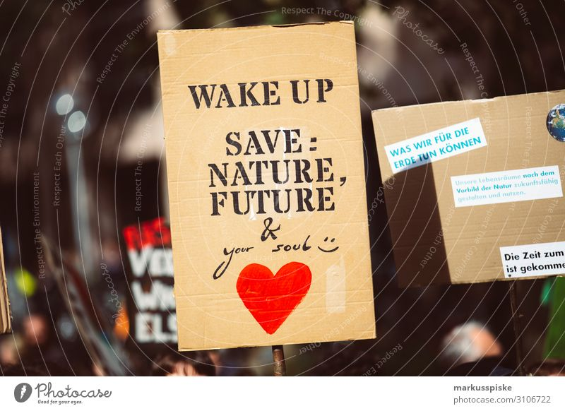Wake up - save nature, future & your soul Kind Student Desaster Frieden Global Climate Mobilisation Global Climate Strike activist appeal atmosphere