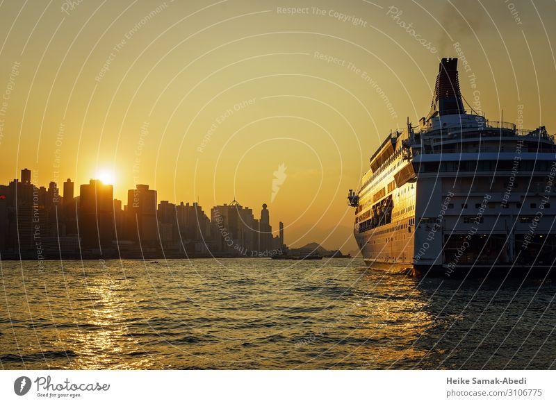 Sonnenuntergang mit Blick auf Hongkong Island Ferien & Urlaub & Reisen Tourismus Städtereise Kreuzfahrt Wasser Himmel Wellen Küste Meer Hauptstadt Hafenstadt