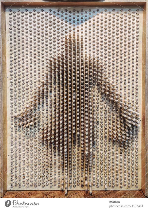 Schatten ihrer selbst Frau Erwachsene Körper 1 Mensch braun Silhouette Zapfen Holz Abdruck Farbfoto Gedeckte Farben Innenaufnahme Experiment abstrakt Muster