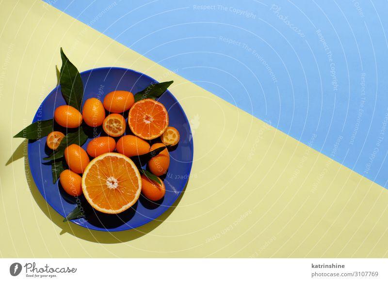 Zitrusfrüchte auf gelbem und blauem Hintergrund Frucht Ernährung Vegetarische Ernährung Diät Teller exotisch Sommer Menschengruppe Blatt frisch modern natürlich