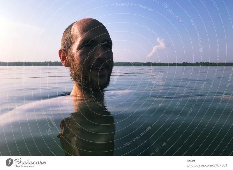 Kopf-Hinhalter Gesundheit Leben Schwimmen & Baden Freiheit Mensch Junger Mann Jugendliche Erwachsene Bart 1 30-45 Jahre Umwelt Wasser Horizont See träumen kalt