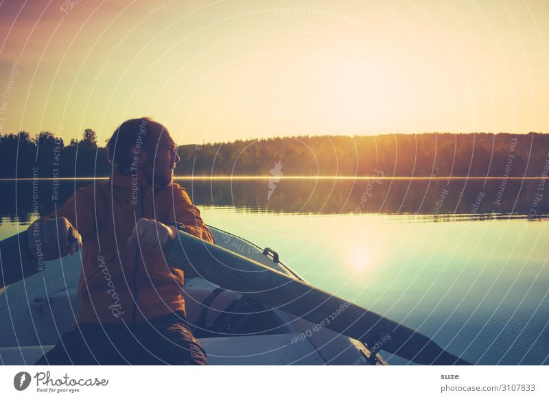Mann rudert übern See in Schweden Wohlgefühl Ferien & Urlaub & Reisen Ausflug Abenteuer Freiheit Sommer Sommerurlaub Sonne Mensch Junger Mann Jugendliche