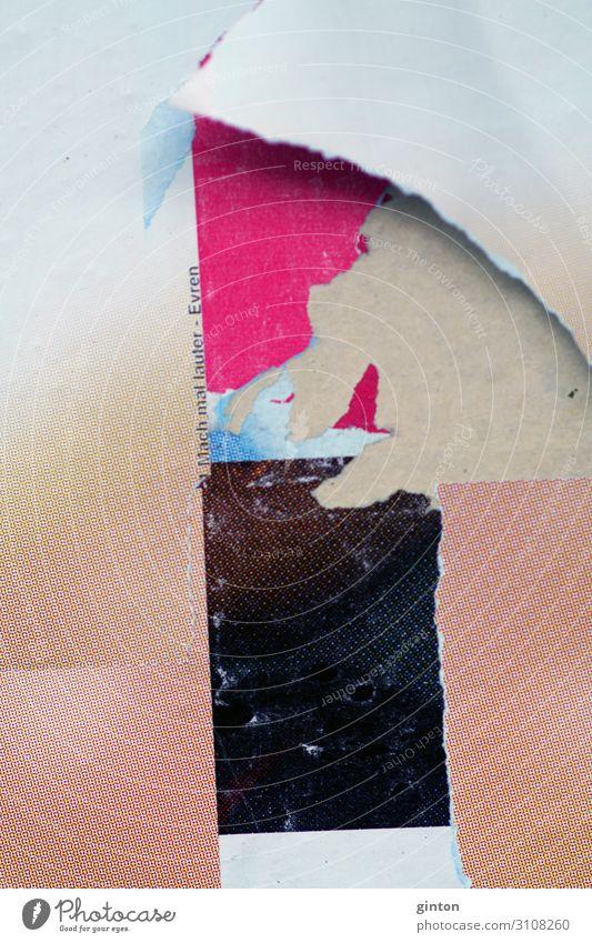 Abgerissenes Poster Papier Zettel Zeichen Schriftzeichen außergewöhnlich einfach trendy kaputt Hintergrundbild Fetzen Papierfetzen psychedelisch Bildpunkt Wand