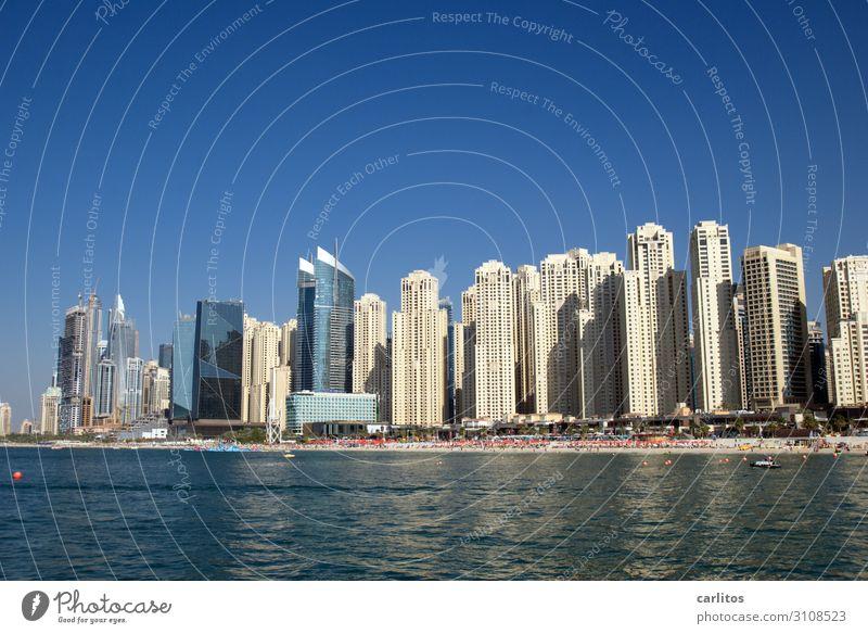 Public Beach Dubai Strand Tourismus Hochhaus bedrohlich Skyline eng Naher und Mittlerer Osten Vereinigte Arabische Emirate Wirtschaftswunder