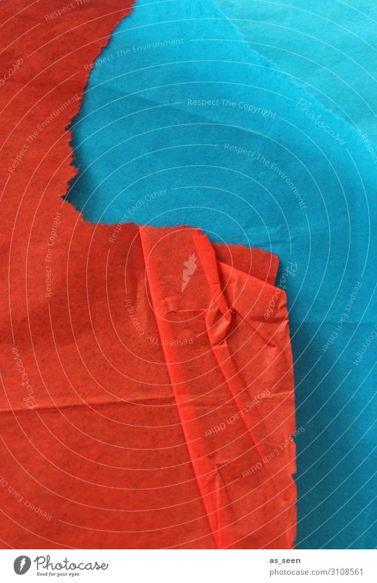 Rot trifft Blau harmonisch Freizeit & Hobby Basteln Kunstwerk Papier Zettel berühren leuchten liegen ästhetisch authentisch eckig blau orange rot türkis Stress