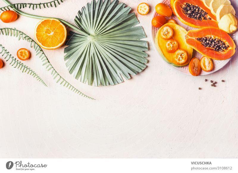 Exotische Früchte Hintergrund Lebensmittel Frucht Ernährung Vegetarische Ernährung kaufen Design exotisch Gesunde Ernährung trendy Hintergrundbild Papaya Mango