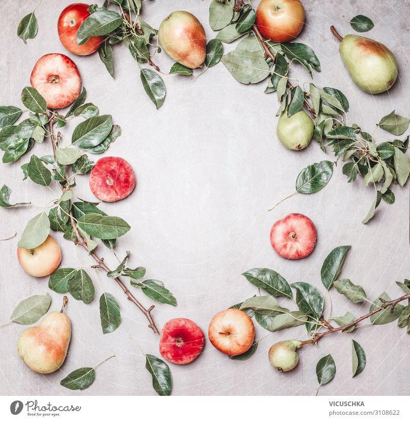 Saisonale Garten Obst Hintergrund Lebensmittel Frucht Apfel Bioprodukte Vegetarische Ernährung Diät kaufen Design Gesundheit Gesunde Ernährung Natur
