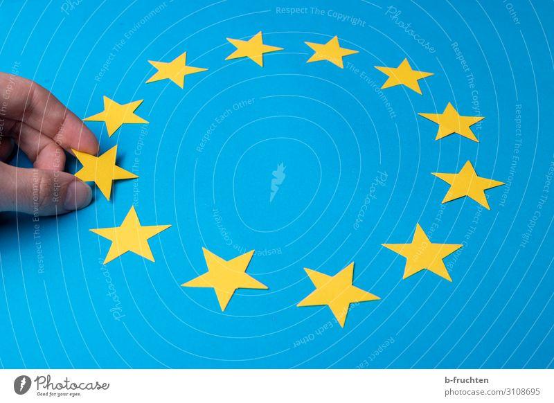 da waren es nur noch ... Wirtschaft Business Finger Zeichen wählen berühren Bewegung festhalten blau gelb Fahne Europafahne Stern (Symbol) 12 11 wenige