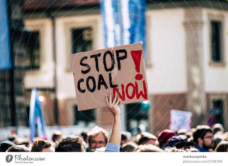 Stop coal now! Bildung Wissenschaften Erwachsenenbildung protestieren Demonstration friday for future greta thunberg Mensch Menschengruppe Umwelt Natur Klima