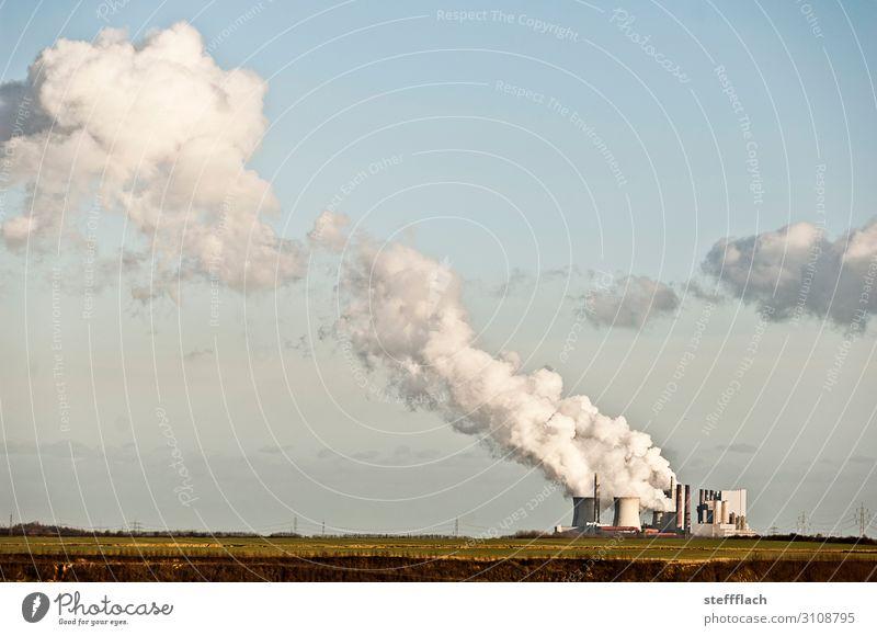 RWE Kraftwerk Neurath Fabrik Wirtschaft Energiewirtschaft Kohlekraftwerk Industrie Natur Landschaft Urelemente Himmel Wolken Klima Klimawandel Schönes Wetter
