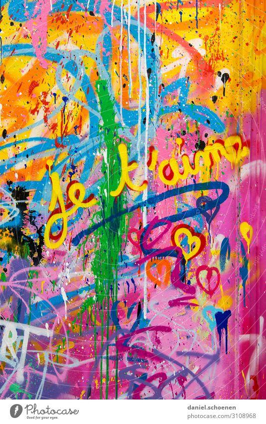 je t´aime Kunst Fassade Zeichen Schriftzeichen Graffiti Herz Freundlichkeit Fröhlichkeit verrückt blau mehrfarbig gelb grün violett orange rosa rot Gefühle