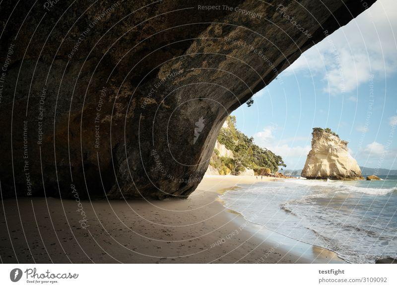 höhle Umwelt Natur Landschaft Urelemente Erde Sand Wasser Himmel Wolken Sommer Klima Schönes Wetter Grünpflanze Wildpflanze Hügel Felsen Strand Bucht Meer