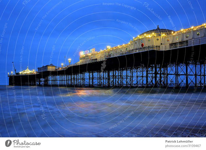 Brighton Pier Ferien & Urlaub & Reisen Tourismus Städtereise Meer Insel Wellen Umwelt Natur Landschaft Wasser Himmel Küste Badeort England Großbritannien Stadt