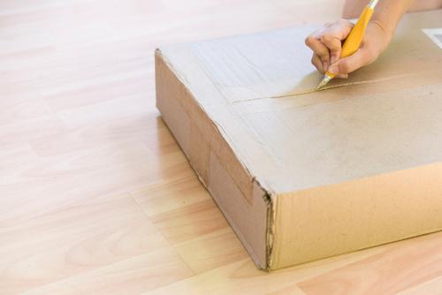 Frau beim Auspacken einer Kiste kaufen Haus Wohnzimmer Business Erwachsene Mode Verpackung Paket sitzen neu Überraschung groß Kasten Boxcontainer heller Raum