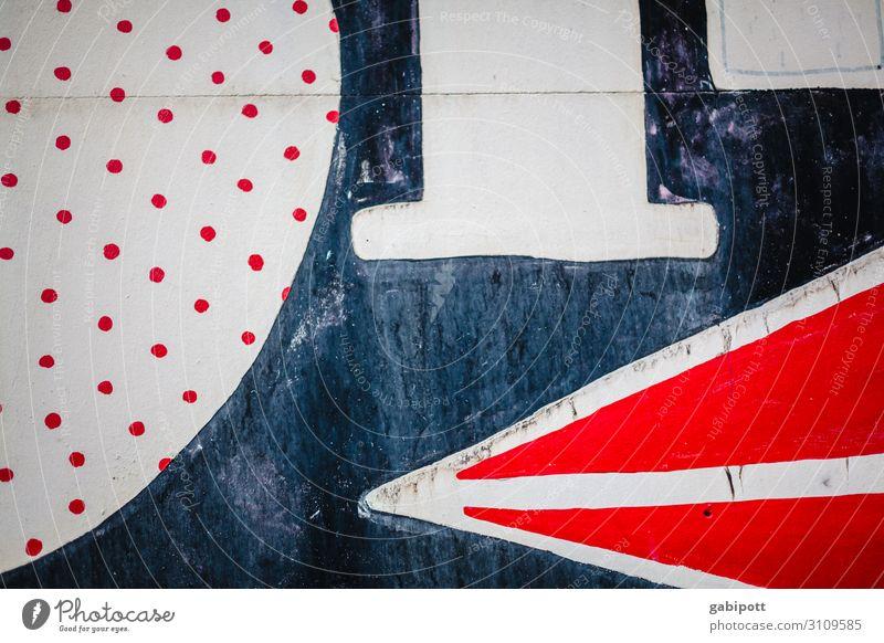 gezeichnet & gemalt streetart Farbfoto Kunst Außenaufnahme Farbe Kreativität Menschenleer weiß Strukturen & Formen Design abstrakt Linie Straße Hauswand rot