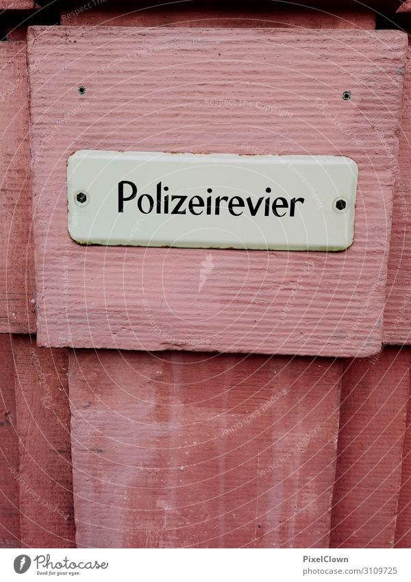 Polizei Lifestyle Design Ferien & Urlaub & Reisen Arbeit & Erwerbstätigkeit Beruf Arbeitsplatz Stadt Zeichen Schriftzeichen lesen braun rot Rettung
