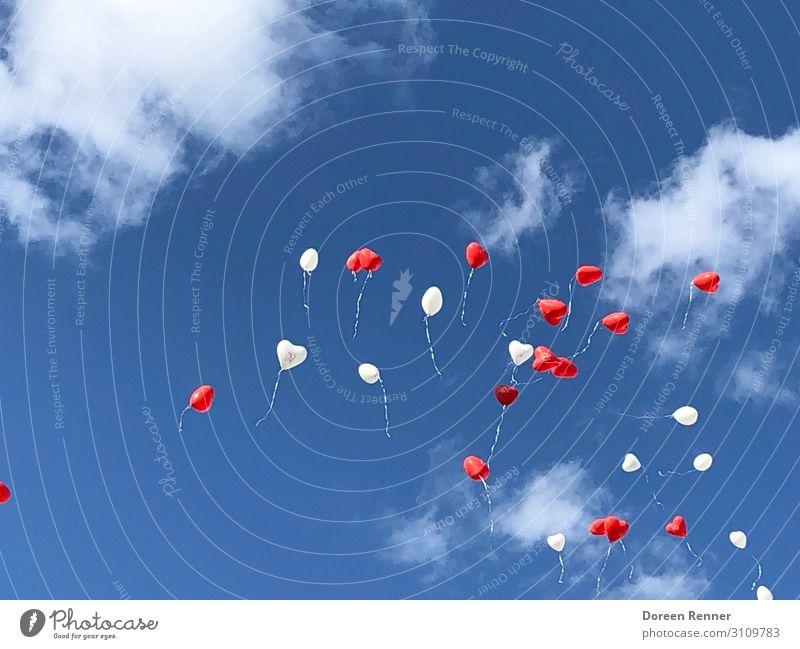 Luftballons am Himmel Natur Wolken Sommer Herz Essen fliegen Liebe Blick Tanzen frei Fröhlichkeit Zusammensein Glück Unendlichkeit hoch oben schön blau rot weiß