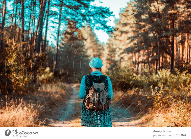 ::19-09:: Frau Mensch Ferien & Urlaub & Reisen Natur Sommer Landschaft Erholung ruhig Wald Ferne Berge u. Gebirge Erwachsene Leben Herbst Umwelt feminin