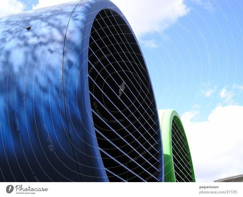 fresh air grün blau Industrie Schornstein Gitter Lamelle Ventilator