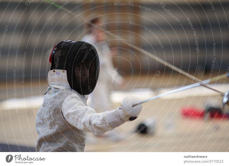 Fechter Sport Kampfsport Sportler Fechten Florett Sportveranstaltung Mensch maskulin Junge Jugendliche Körper 1 8-13 Jahre Kind Kindheit Bekleidung