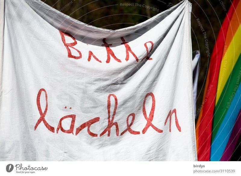 Bitte lächeln :-) Transparente Regenbogenflagge Schriftzeichen Lächeln authentisch Erfolg Freundlichkeit einzigartig positiv mehrfarbig rot weiß Sympathie