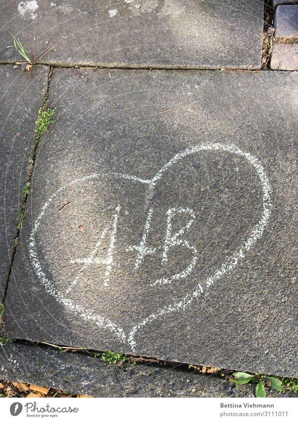 Liebe auf Asphalt gemalt Freude harmonisch Valentinstag Hochzeit Paar Leben Fußweg Stein Zeichen Schriftzeichen Graffiti Zusammensein Glück grau weiß Gefühle