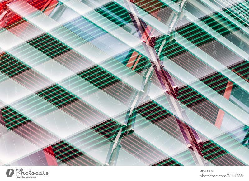 Lamellen Sichtschutz Jalousie Metall Kunststoff Linie Streifen abstrakt Doppelbelichtung kreuz und quer grün rot weiß Neubau Fassade modern Hintergrundbild