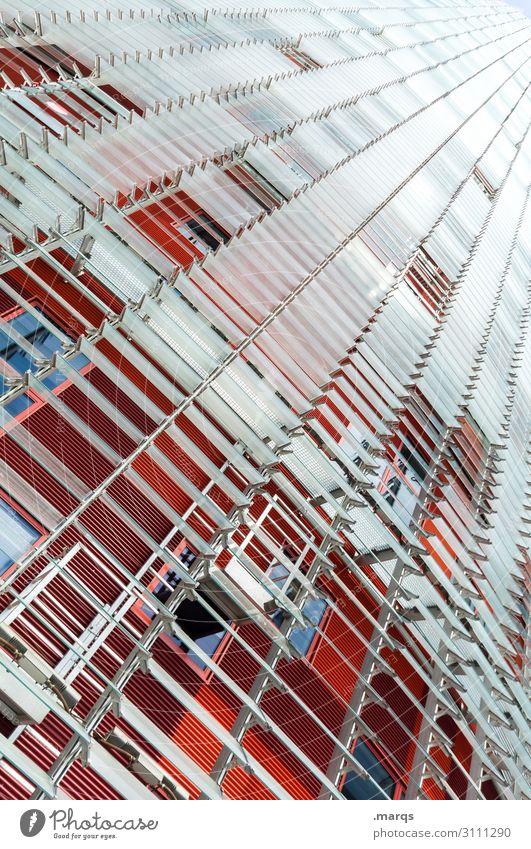 Siedlung (vertikal) Lifestyle elegant Stil Design Häusliches Leben Bauwerk Gebäude Architektur Fassade Lamelle Linie trendy hoch modern rot weiß ästhetisch
