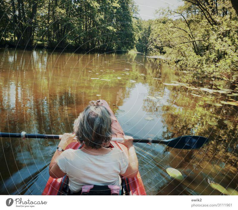 Sanft dahingleiten Freizeit & Hobby Ausflug Frau Erwachsene Partner Rücken Arme Hand Hinterkopf 1 Mensch Umwelt Natur Landschaft Pflanze Urelemente Wasser