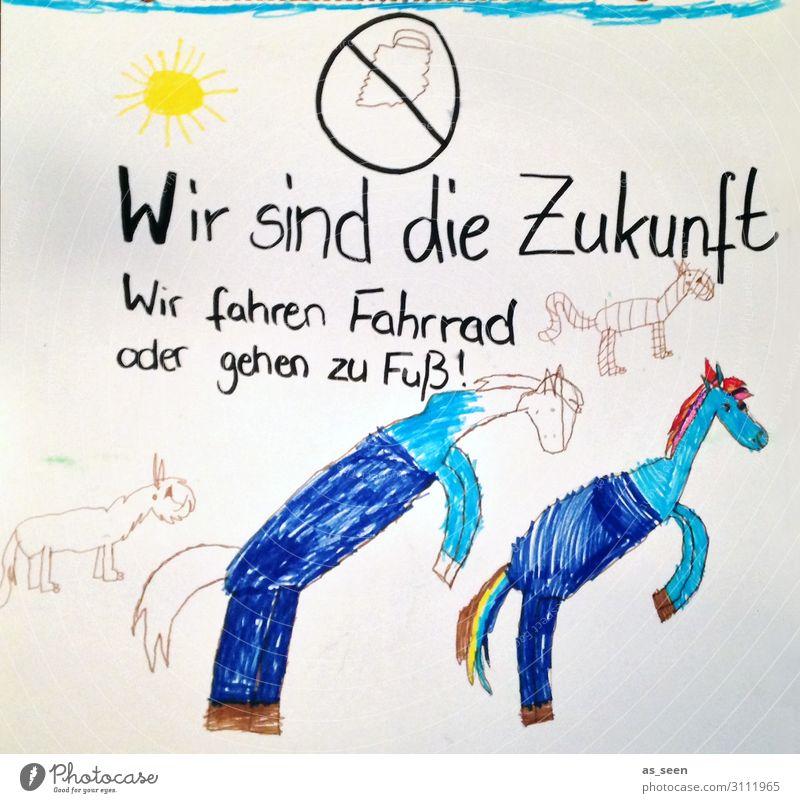 Fridays fpr Future Kunst Kinderzeichnung Umwelt Natur Klima Klimawandel Tier Pferd Papier laufen authentisch einzigartig niedlich blau weiß Gefühle Kindheit