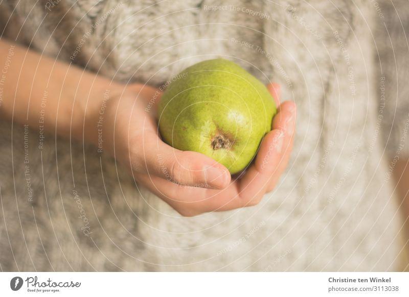 junge Frau im Zopfpullover hält eine Birne vor sich in der Hand Lebensmittel Frucht Ernährung Bioprodukte Vegetarische Ernährung Slowfood feminin Junge Frau
