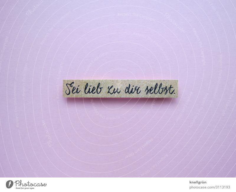Sei lieb zu dir selbst. Schriftzeichen Schilder & Markierungen Kommunizieren Freundlichkeit rosa Gefühle Glück Sympathie Liebe egoistisch Farbfoto