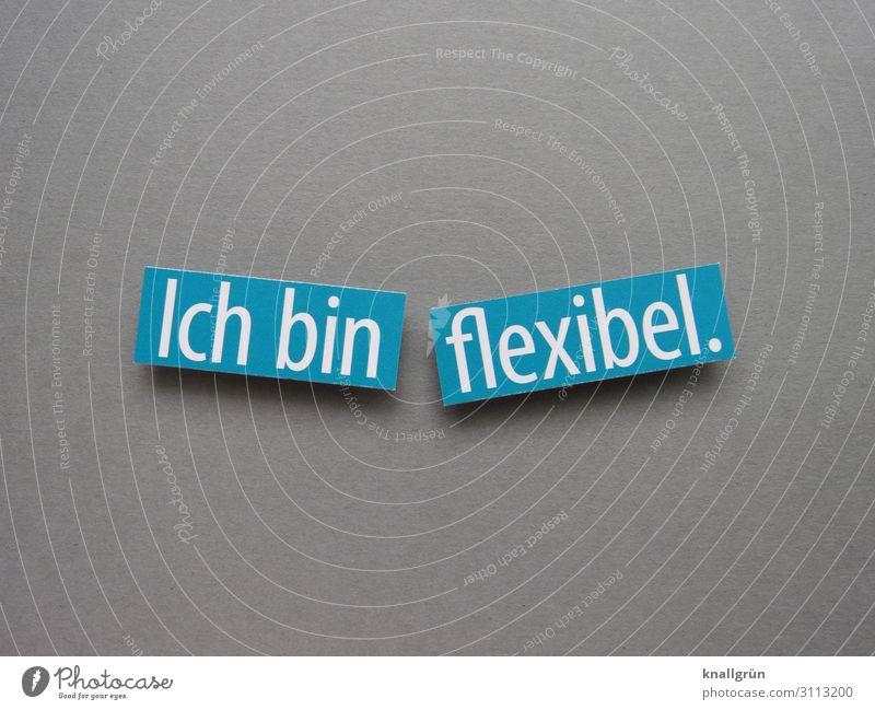 Ich bin flexibel. Flexibilität anpassungsfähig beweglich Erwartung unkompliziert Buchstaben Wort Satz Letter Lateinisches Alphabet Text Hintergrund neutral