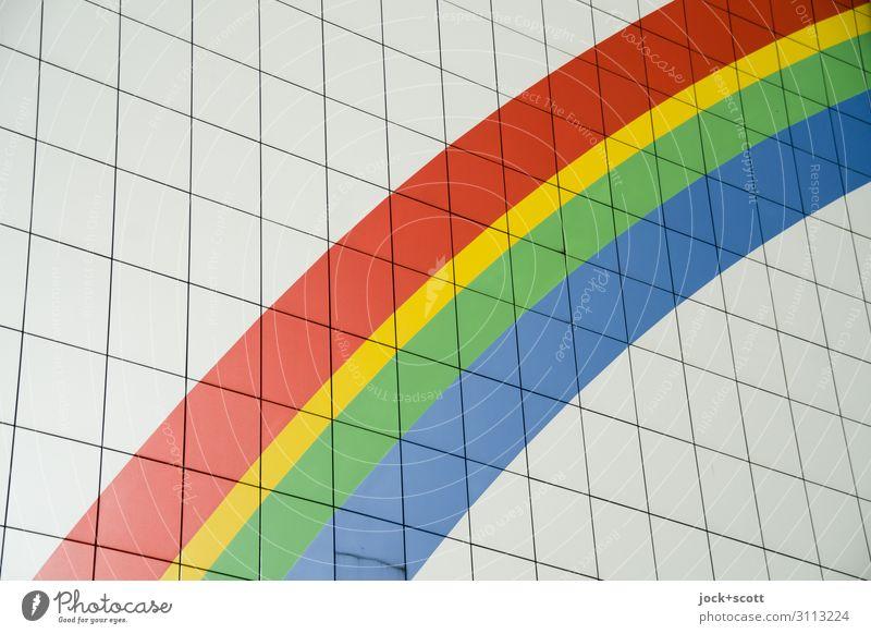 Bogen ohne Regen Regenbogen Straßenkunst Lichtenberg Plattenbau Wand Brandmauer Dekoration & Verzierung Kunststoff Zeichen Linie Streifen groß lang modern viele